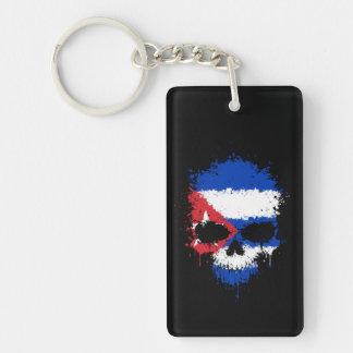 Cuba Dripping Splatter Skull Keychain