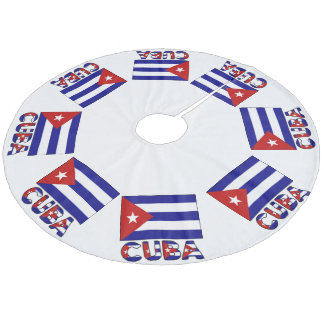 Cuba Flag and Word Dark Blue Stripes Fleece Tree Skirt