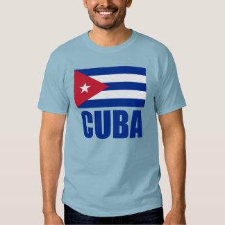 Cuba Flag Blue Text Dark T Shirt