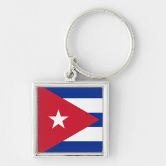 Cuba Flag CU Silver-Colored Square Keychain