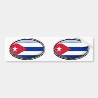 Cuba Flag Glass Oval Bumper Sticker