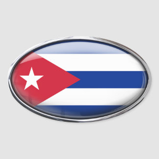 Cuba Flag Glass Oval Oval Sticker