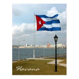cuba flag havana postcard
