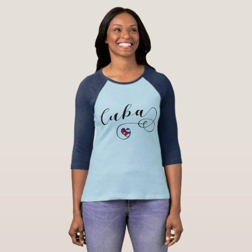 Cuba Flag Heart Cuban Heart T_Shirt