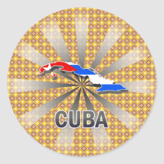 Cuba Flag Map 2 0 Round Stickers