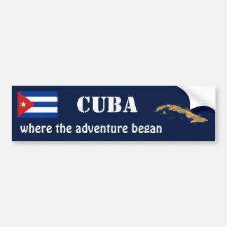 Cuba Flag + Map Bumper Sticker