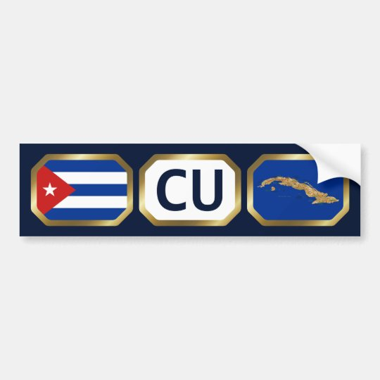 Cuba Flag Map Code Bumper Sticker