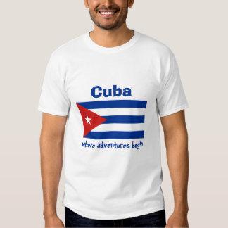 Cuba Flag + Map + Text T-Shirt