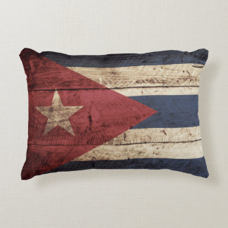 Cuba Flag on Old Wood Grain Accent Pillow