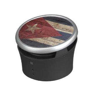 Cuba Flag on Old Wood Grain Bluetooth Speaker