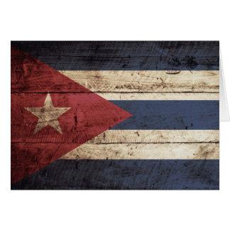 Cuba Flag on Old Wood Grain Card