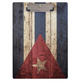 Cuba Flag on Old Wood Grain Clipboard