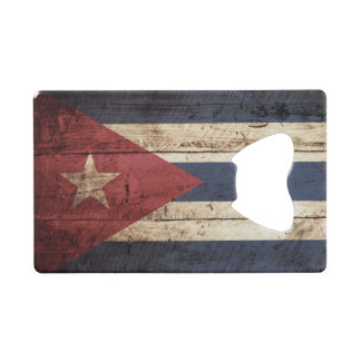 Cuba Flag on Old Wood Grain Credit Card Bottle Opener