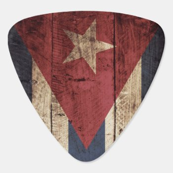 Cuba Flag On Old Wood Grain Guitar Pick by electrosky at Zazzle