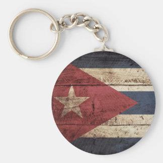 Cuba Flag on Old Wood Grain Keychain