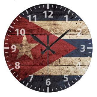 Cuba Flag on Old Wood Grain Large Clock