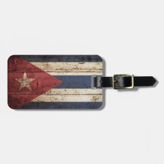 Cuba Flag on Old Wood Grain Luggage Tag