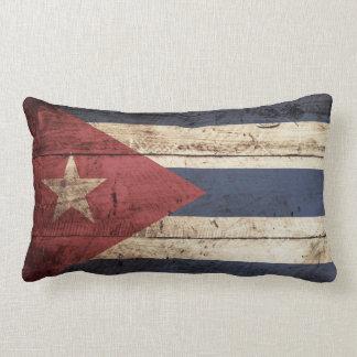 Cuba Flag on Old Wood Grain Lumbar Pillow