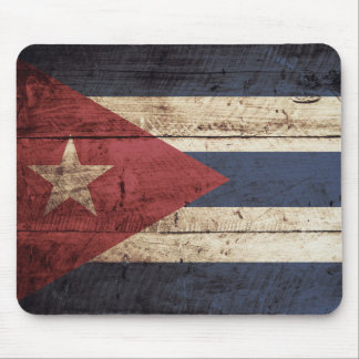 Cuba Flag on Old Wood Grain Mouse Pad