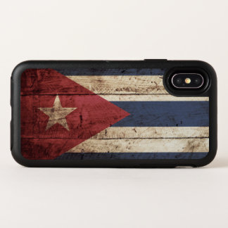 Cuba Flag on Old Wood Grain OtterBox Symmetry iPhone X Case