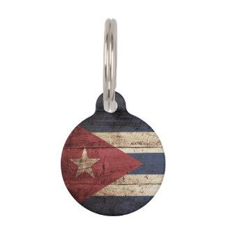 Cuba Flag on Old Wood Grain Pet Name Tag