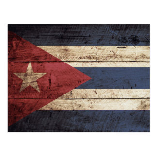 Cuba Flag on Old Wood Grain Postcard