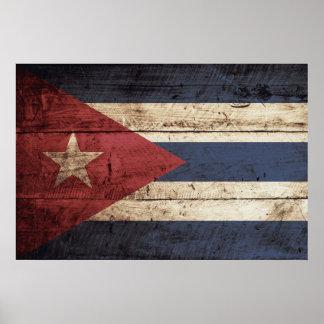 Cuba Flag on Old Wood Grain Poster