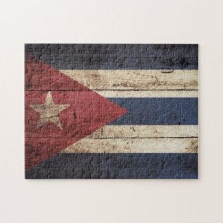 Cuba Flag on Old Wood Grain Puzzles