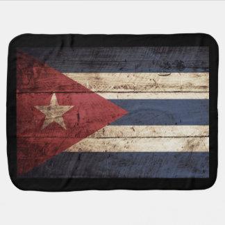 Cuba Flag on Old Wood Grain Receiving Blanket