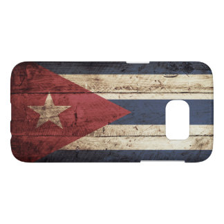 Cuba Flag on Old Wood Grain Samsung Galaxy S7 Case