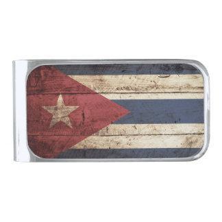 Cuba Flag on Old Wood Grain Silver Finish Money Clip