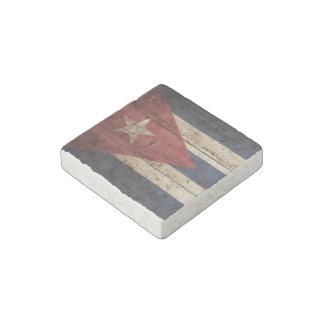 Cuba Flag on Old Wood Grain Stone Magnet
