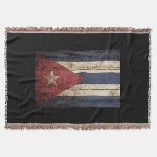 Cuba Flag on Old Wood Grain Throw