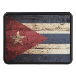 Cuba Flag on Old Wood Grain Trailer Hitch Cover
