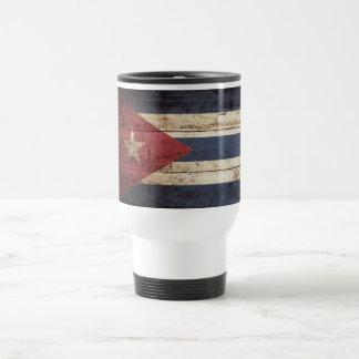 Cuba Flag on Old Wood Grain Travel Mug