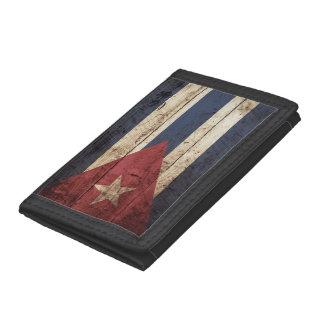 Cuba Flag on Old Wood Grain Trifold Wallets