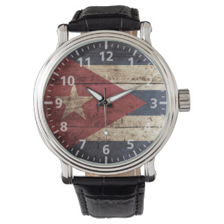Cuba Flag on Old Wood Grain Wrist Watch