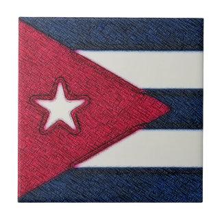 CUBA FLAG SMALL SQUARE TILE