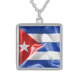 Cuba Flag Sterling Silver Necklace