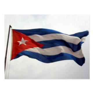 cuba flag waving postcard
