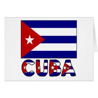 Cuba Flag & Word Dark Greeting Card