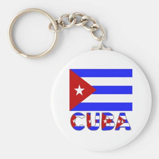 Cuba Flag & Word Light Keychain