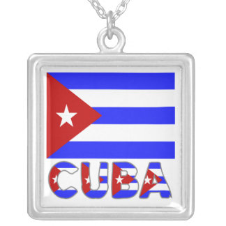 Cuba Flag & Word Light Silver Plated Necklace