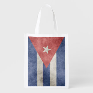 Cuba Grunge Flag Two-Sided Reusable Grocery Bags