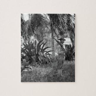 Cuba, Guantanamo Sentry beneath palms_War Image Jigsaw Puzzle