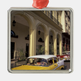 Cuba, Havana. Colorful Chevy's from the 1950's Square Metal Christmas Ornament