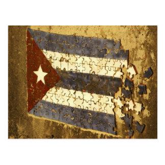 CUBA, Havana. Mosaic puzzle of the cuban flag in Postcard