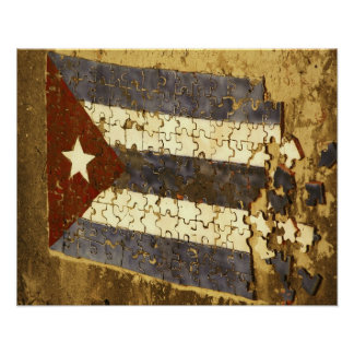 CUBA, Havana. Mosaic puzzle of the cuban flag in Poster