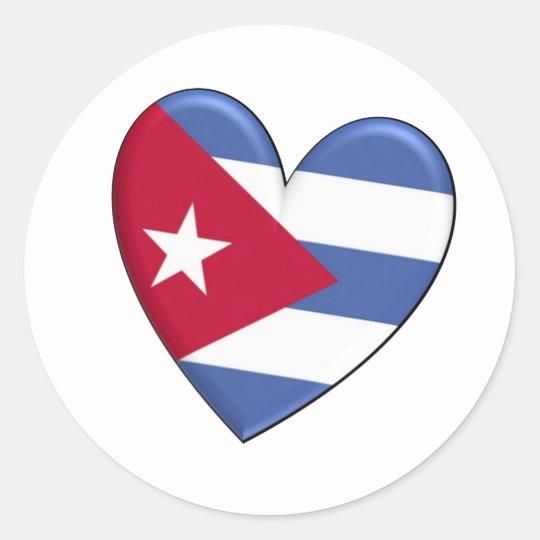 Cuba Heart Flag Classic Round Sticker