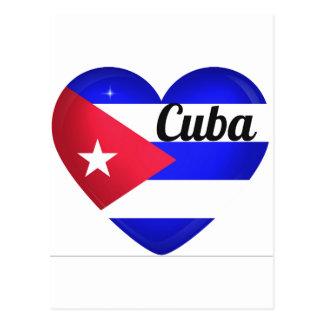 Cuba Heart Flag Postcard